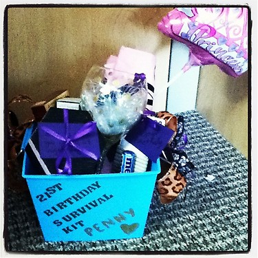 Making a gift basket for your Big's 21st birthday. TSM.