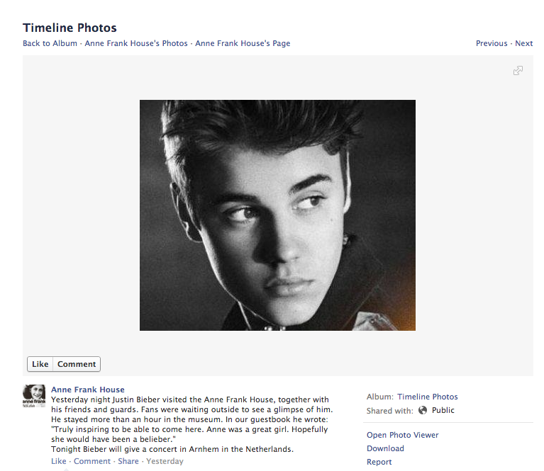 Total Sorority Move | Justin Bieber At The Anne Frank ...